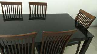 Dining Table Set (tempered glass top)