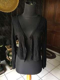 Black crop cardigan