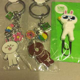 (共3個)Line Friends cony brown 熊大兔兔鎖匙扣加夾