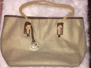 Michael Kors Marina Canvas Tote Bag in Gold - Authentic