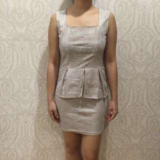 Baroque Silver Peplum Dress with Lace Back