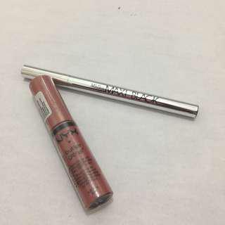 NYX Butter Gloss BL G07 Tiramisu FREE 1XThailand Brand Misline Maxi Black Eyeliner (New)