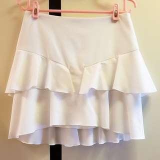 日本製Jornal Standard白色荷葉邊優質雪紡短裙
