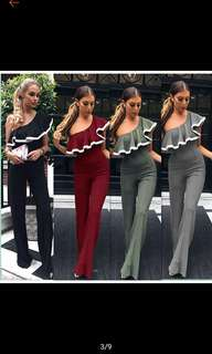 BN high quality one shoulder formal jumpsuit (Maroon and black only)