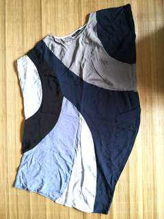 PRELOVED Women's / Woman's blue grey black color block geometric asymmetrical sleeveless dress / long top - in very good condition