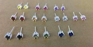 SALE!! Genuine 925 Iraly silver birthstone earrings