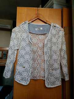 暗花lace長袖外套