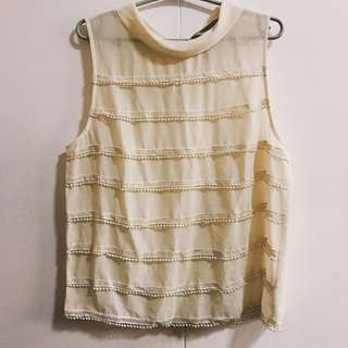 F21 cream sleeveless fancy top