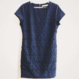 CELINE Navy Blue laser cut pattern dress
