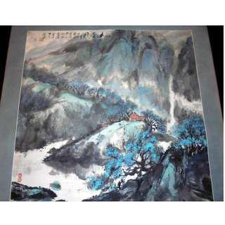 中國工藝美術大師 關寶琮 真跡 山居圖 鏡片紙本