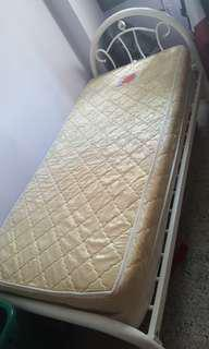 White Metal Single Bed with mattress