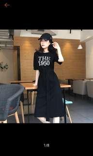 Korean Midi Dress With Belt