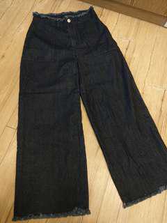 🚚 深藍牛仔寬褲