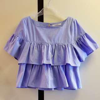 Majestic legon藍紫色直間層次荷葉邊上衣