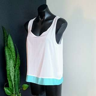 Women's size 14 'BA8' white button back top with turquoise trim BNWT RRP $49.95