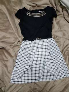 Black and white dress with belt