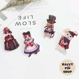 Cats dressed as Alice in Wonderland characters Stereoscopic Pins