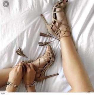 Beige Strappy Tassel Heels