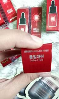 Peripera ink velvet sellout red w free innisfree volcanic mask