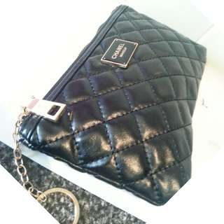 Chanel VIP Gift Black Faux Leather Makeup Bag