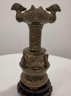 舊物 青瓷雙鳥燈台 (自由出價  價合即賣)