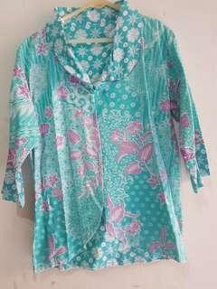 Outer Batik Blouse Baju Atasan Hijau Tosca Bolak Balik 2 sisi