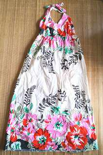 GIVEFREE RM70 | NEW WITHOUT TAG Women's / Woman's halter tie back v neck pink red green boho floral long cotton summer dress - in good condition but with flaws