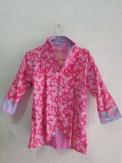 Outer Batik Blouse Wanita Pink dua sisi Bolak Balik Atasan Kantor Top