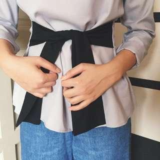 *(NEW) Self-tie Grey Blouse