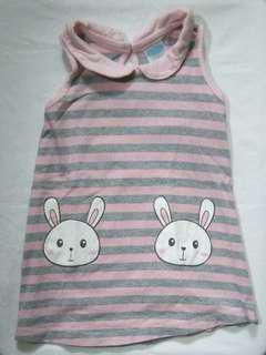 Baby Girl Stripes Bunny Dress (6 Months)