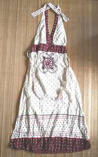 NEW WITHOUT TAG Women's / Woman's halter tie back v neck brown and beige boho ethnic print long cotton dress - in good condition but with flaws