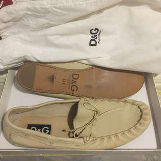 Dolce & Gabbana D&G Beige Leather Driving Loafers - Made in Italy - US10.5 NEE