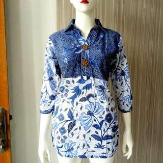 Batik Blue Top / Atasan Batik Biru BCA