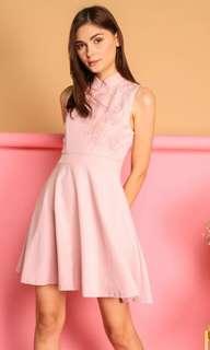 The Stage Walk - Calinda Oriental Crochet Dress in Dusty Pink