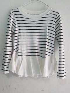 Peplum Rajut Stripes Garis Hitam Putih Atasan Wanita Bagus Sweater