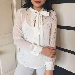 H&M White & Gold Embellish Blouse