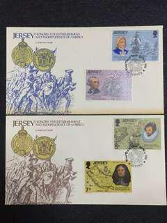 Jersey 1976 US Independence 2x FDCs stamps