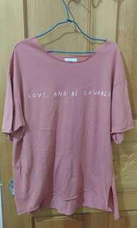 🚚 粉色 短袖 T恤 上衣 捲邊T(已保留勿下標)