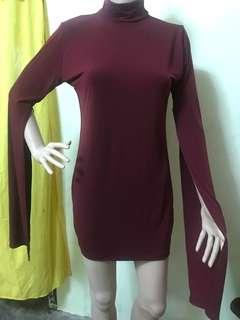 DESIGNER Elegant Wine Red Dress/Blouse