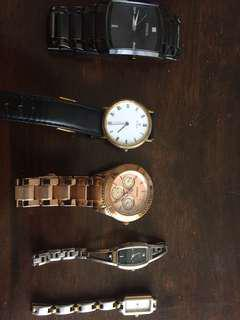 2 Fossils, 1 titan, 1 timex and 1 guess watch