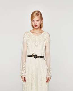 Zara Cream Embroidered Lace Midi Dress