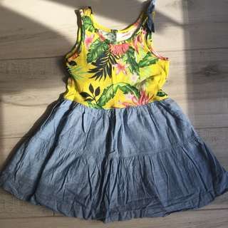Gap girl's beach dress 女童黃色牛仔沙灘連身背心裙