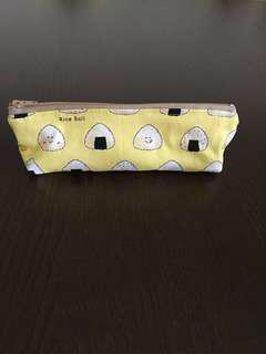 Handmade fabric pouch - onigiri