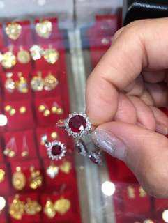 18K White Gold Red Gemstone Set