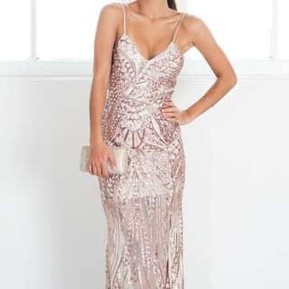 Be My Lover Sequin Dress Rose Gold