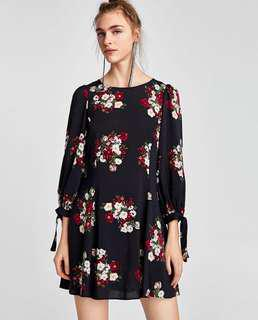 Reduced! Authentic Zara Floral Dress with tie sleeve details