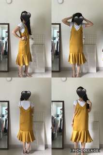 Yellow Satin Korean Pinafore Dress