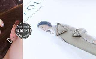 耳環 夾式 鏤空 鑲鑽 三角形 耳環 現貨 新品 全新(但已拆封無原包裝)不介意可下標