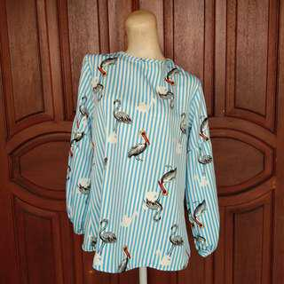 Blouse Blue Stripe Bird