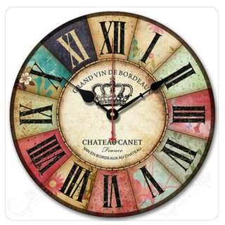"12"" Vintage Design France Crown Wall Clock, 復古法國皇冠 12"" 掛牆鐘"